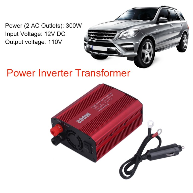 300W Power Inverter Transformer 2 USB Port 12V To 110V Ca...