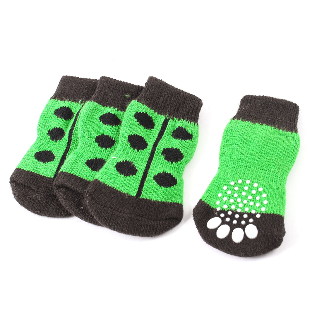 Unique Bargains 2 Pairs Paw Dot Printed Elastic Cuff Pet Dog Cat Knitted Socks Green Black L