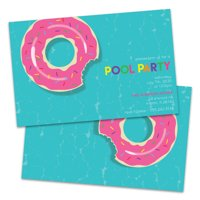 Personalized Donut Raft Pool Party Invitation
