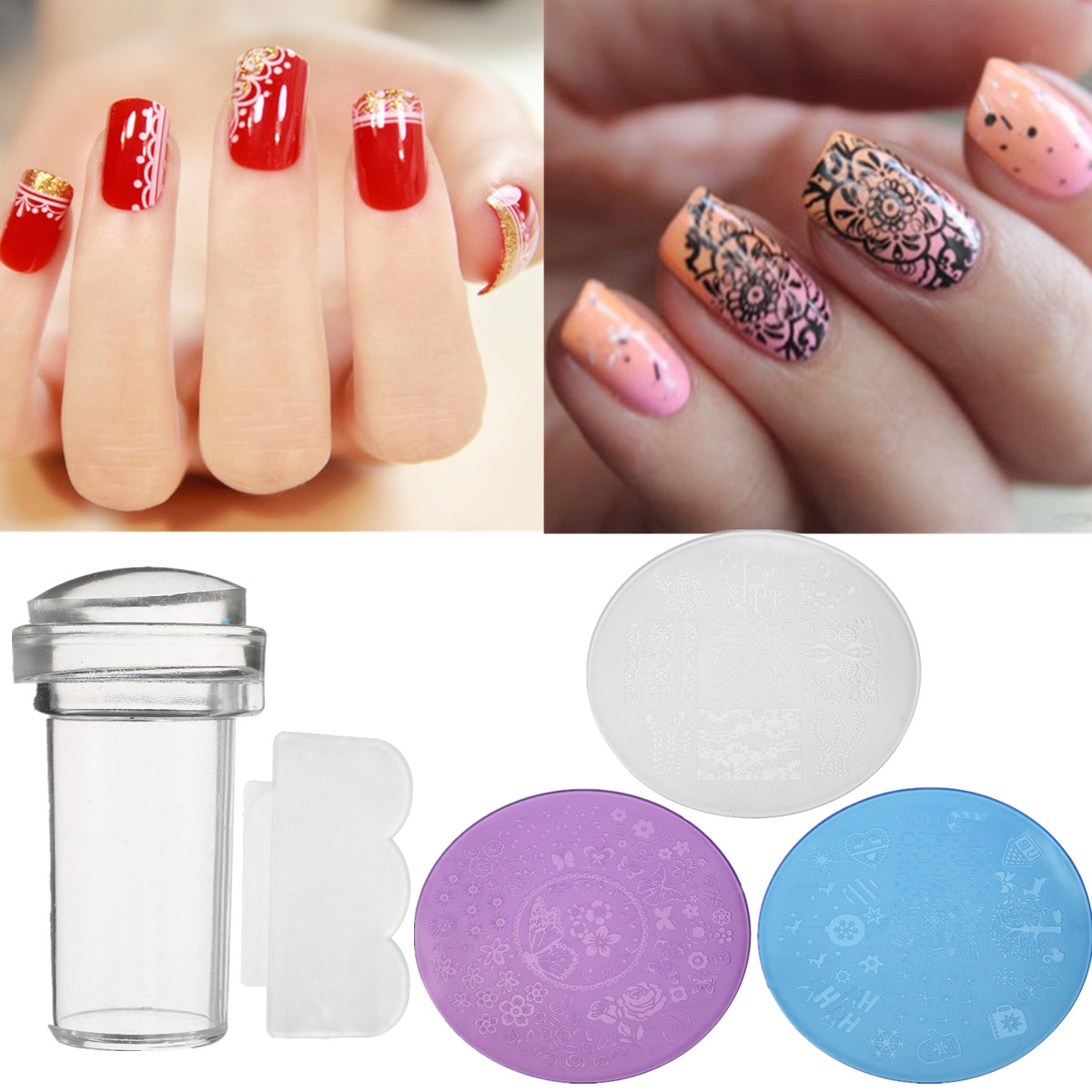 DANCINGNAIL 3Pcs/Set Nail Art Stamp Stencil Stamper Design Stamping Image Template Plate Kit