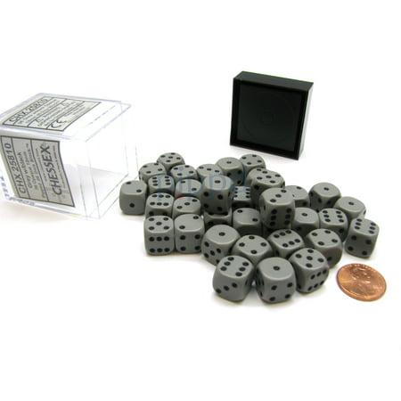 Opaque 12mm D6 Chessex Dice Block (36 Die) - Dark Grey with Black Pips 36 Opaque 12mm Dice Block