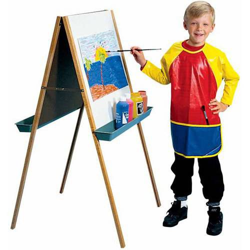 School Smart Full Protection Vinyl Smock, 6 to 8 Years, Multi-color