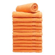 Goza Towels Luxury Cotton WashCloths, (12-Pack, 13 x 13 inches) Orange