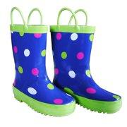 Blue Polka Dots Girls Rain Boots 11-3