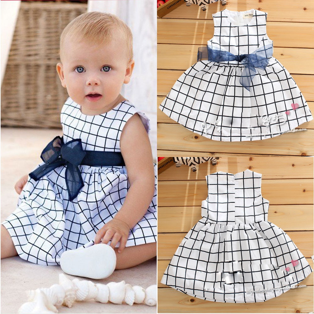 Baby Toddler Girl Kid Plaids Bownot Dress Outfit Pricess Clothes Dress Blue+Whit