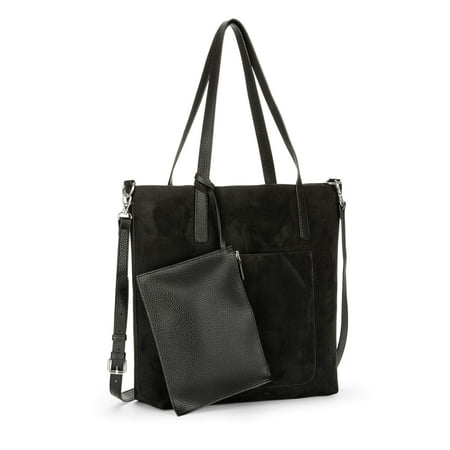 Flap Tote Handbag - Time and Tru Leigh North South Reversible Tote with Pouch