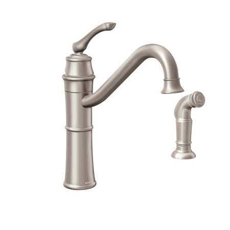 Moen  Wetherly Spot Resist Brushed Nickel 1-hole 2-sidespray Kitchen Faucet