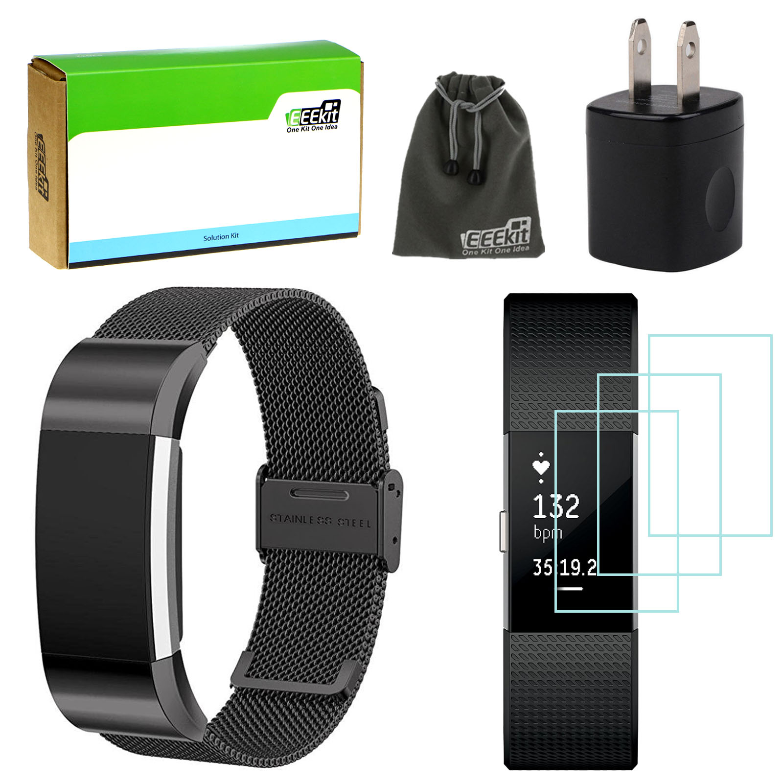 EEEKit for Fitbit Charge 2,Milanese Stainless Steel Strap Replacement Band,3 Pcs HD Clear Screen Protector, Wall Charger