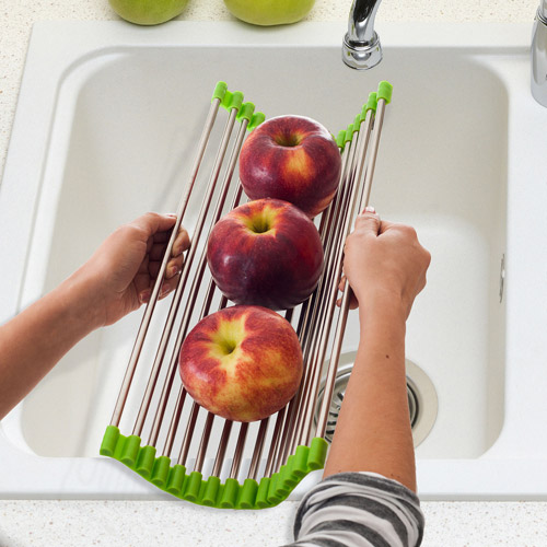 Chef Buddy Wide Over-the-Sink Roll-Up Drying Rack, Stainless Steel/Green