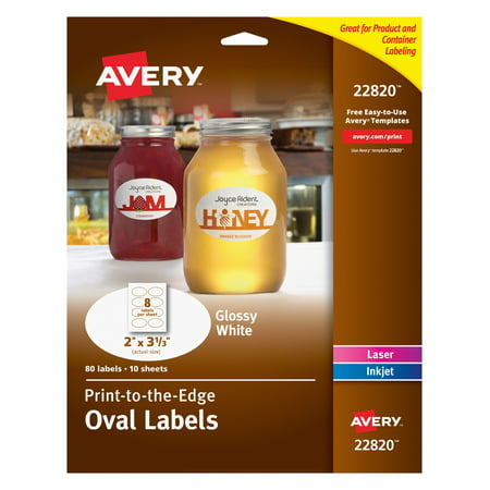 "Avery Oval Labels, Sure Feed, 2"" x 3-1/3"", 80 Glossy Labels (22820)"