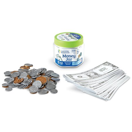 Learning Resources Money Jar, Set of 220 Pieces, Ages 3+ - Learning Money Games