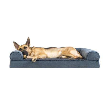 Chenille Suede - Jumbo Faux Fleece & Chenille Soft Woven Memory Top Sofa Pet Bed - Orion Blue