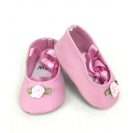 Lace Up Ballet Slippers - Pink for 18 Inch -