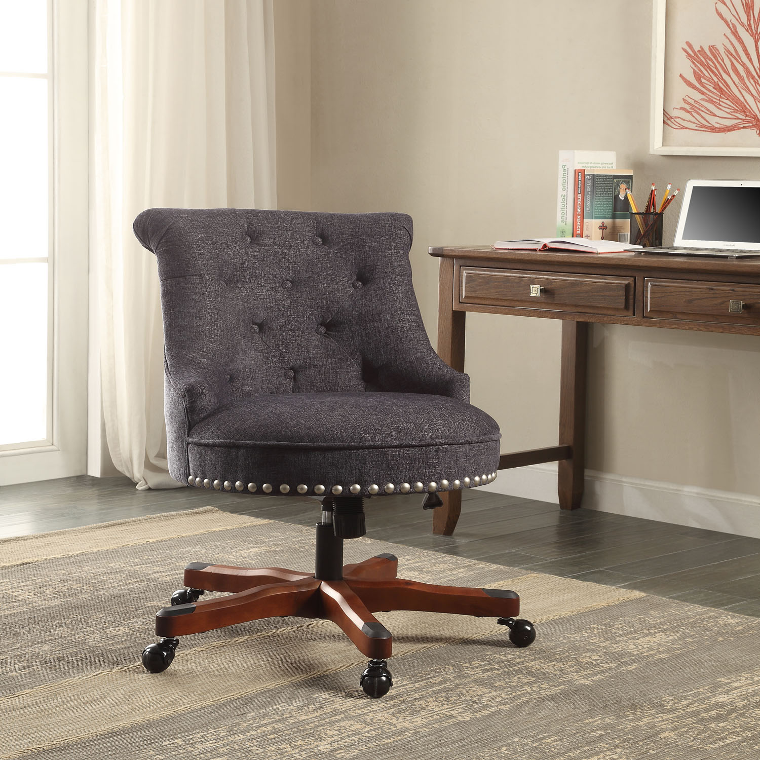 linon sinclair office chair multiple finishes inch seat height gas lift walmartcom