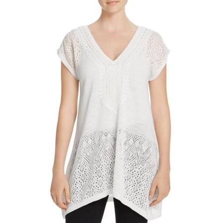 Avec Womens Pointelle Crochet Trim Blouse Ivory L