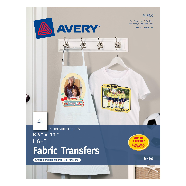 "Avery® T-Shirt Transfers, 8-1/2"" x 11"", 18 Transfers (8938)"
