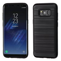 ASMYNA Brushed Hybrid Carbon Fiber Accent Hard PC/TPU Dual Layer Case For Samsung Galaxy S8+ S8 Plus - Black