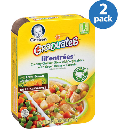 Gerber Graduates Lil' Entrees Creamy Chicken Stew with Vegetables with Green Beans & Carrots, 6.67 oz (Pack of 2)