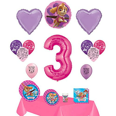 Paw Patrol Party Supplies Skye Happy 3rd Birthday Supply And Balloon Bundle