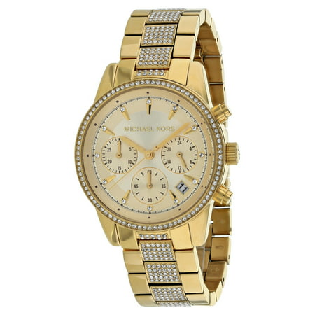 - Ritz Pave Chronograph Crystal Gold Dial Ladies Watch MK6484