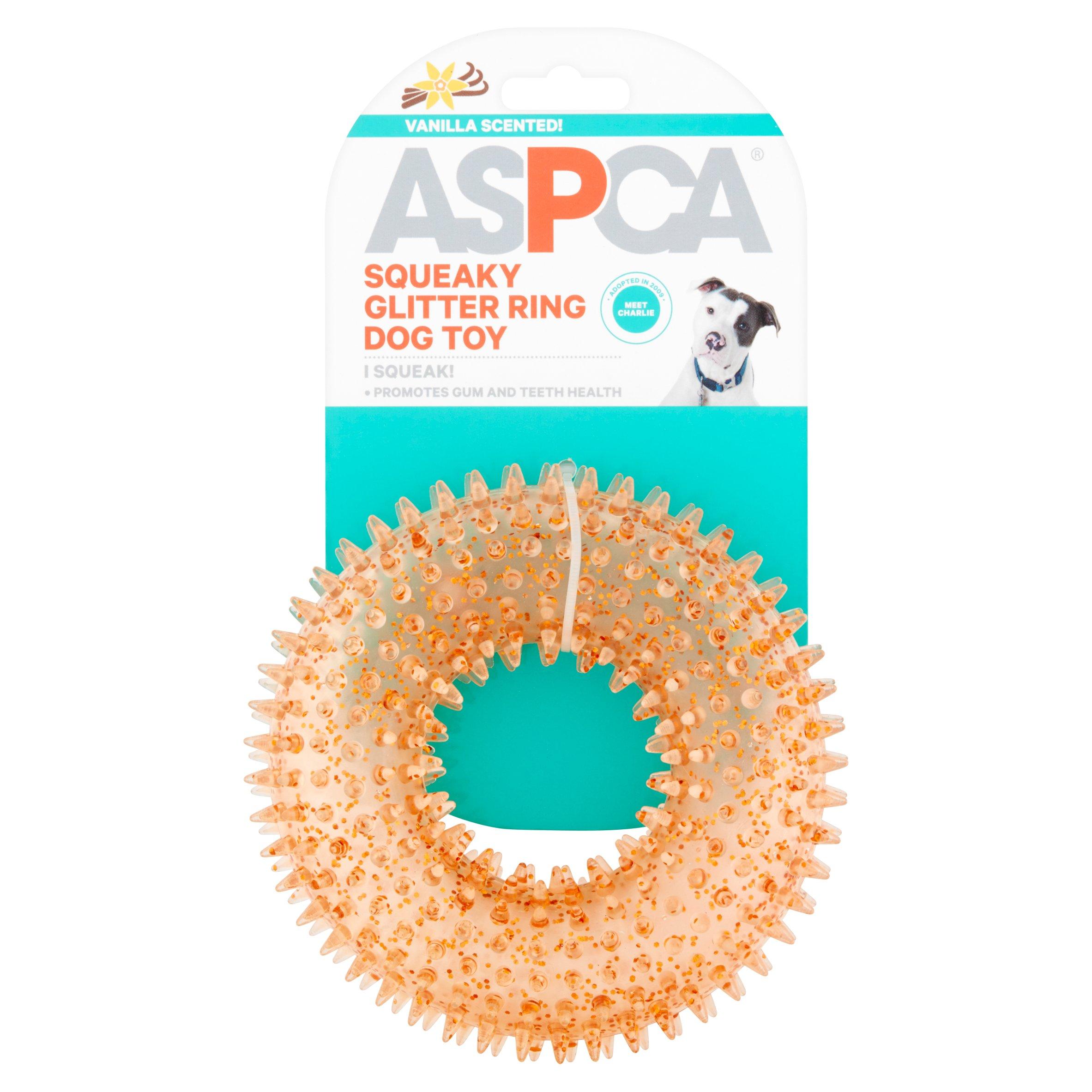ASPCA Orange Squeaky Glitter Ring Dog Toy