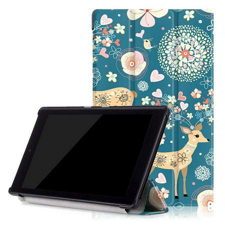 2017 7Th Gen  Amazon Fire Hd 8 Case  Epicgadget Tm  No Auto Sleep Wake Premium Leather Folding Folio Case For Fire Hd 8  8  Hd Display Tablet  Deer Garden