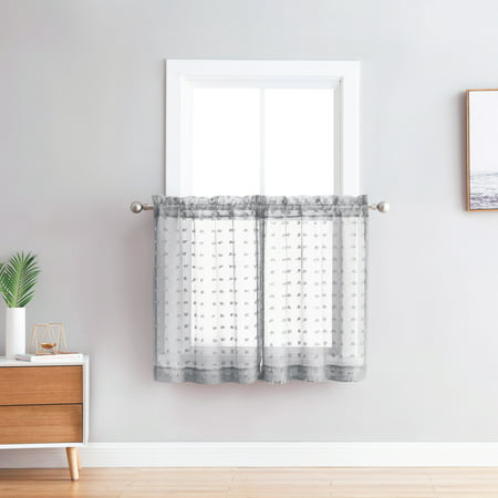 Bathroom and More Collection Sheer 2 Piece Window Curtain Café/Tier Set: 3-D Small Soft Tufts Design, 36in Long Each Tiers (Silver/Light Gray) ()