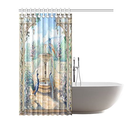 GCKG Floral Watercolor Peacocks Shower Curtain Hooks 66x72 inches Colorful Fabric Watercolor Peacocks in A Spring European Garden with Fountains & Flowers - image 2 de 3