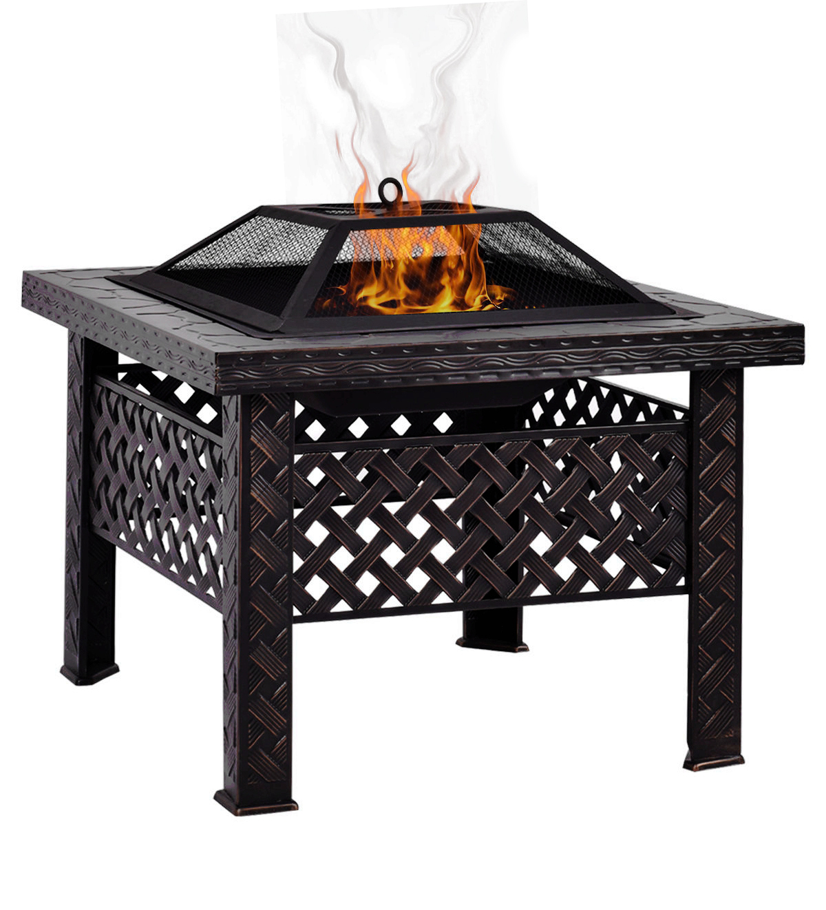 "Magshion 26"" Square Woven Fire Pit Fire Bowl BBQ Burning Grill Patio Heater W Poker Grate Without Cover"