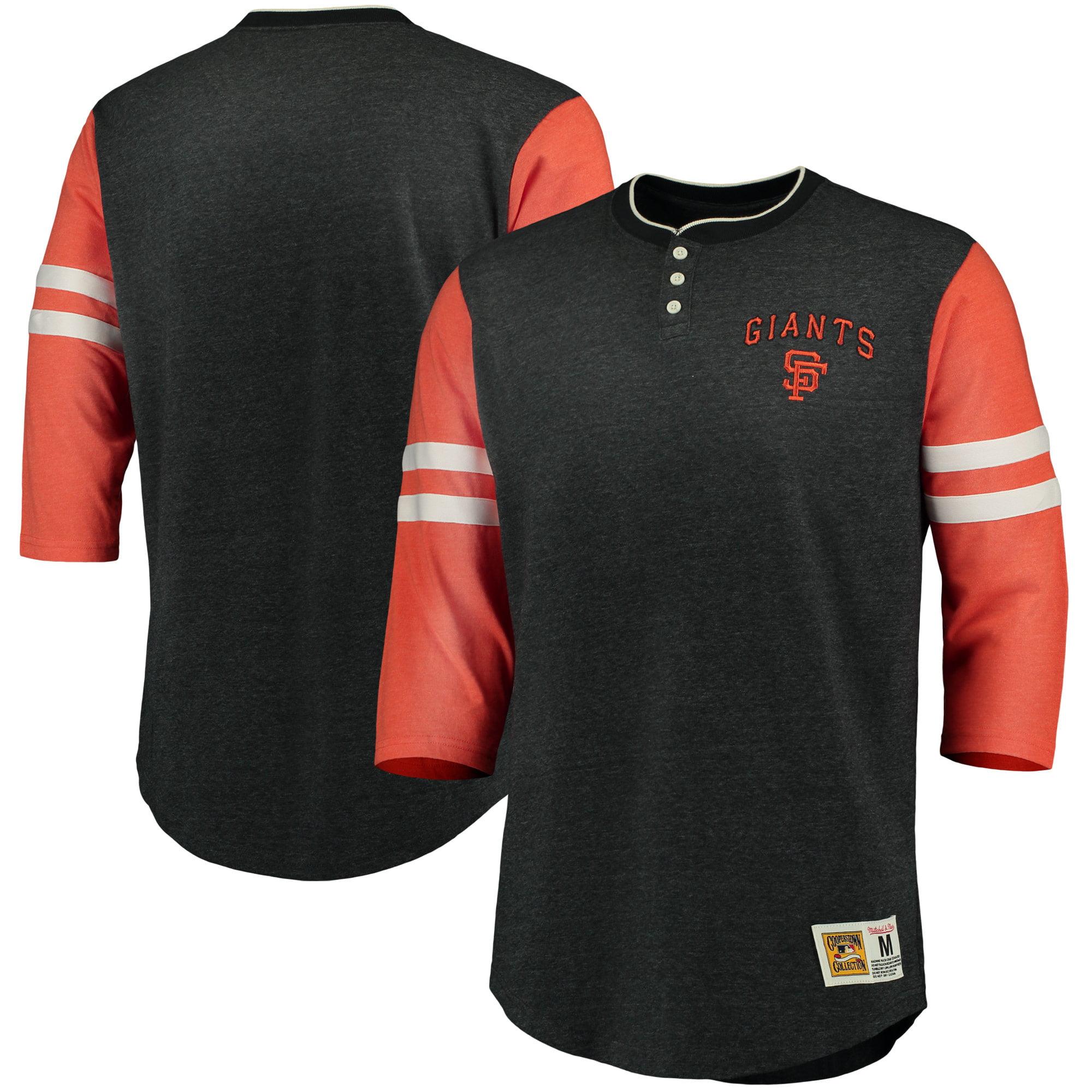 San Francisco Giants Mitchell & Ness Home Stretch 3/4-Sleeve Henley T-Shirt - Black/Orange