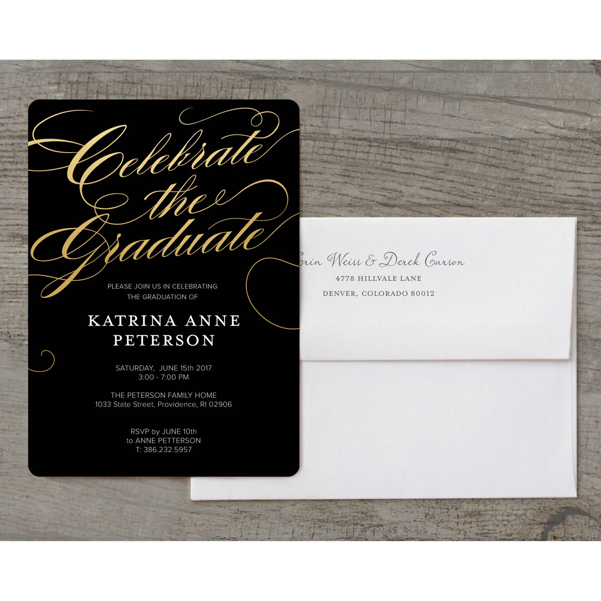 Walmart Com Wedding Invitations: Classic Script Deluxe Graduation Invitation