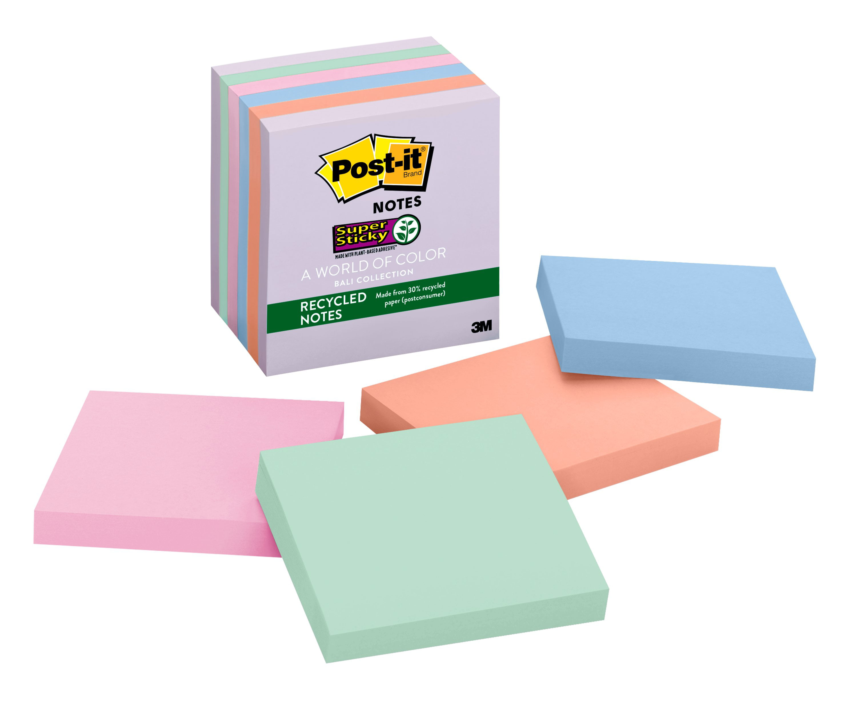 3 in x 3 in Bali Collection 2x Sticking Power Post-it Recycled Super Sticky Notes 5 Pads//Pack , Model: 654-5SSNRP 654-55SNRP