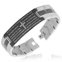 Stainless Steel Black Silver-Tone Religious Cross English Prayer Mens Bracelet