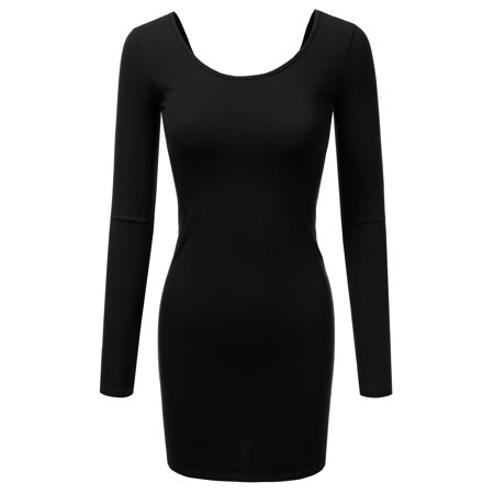 Doublju Stretchy Cotton Long Sleeve Slim Fit Tunic Mini Dress For Women With Plus Size BLACK S
