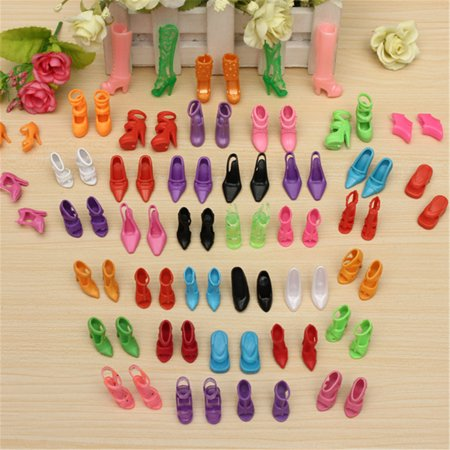 Jeteven 80 Pcs 40 Pairs Multiple Styles Barbie Doll Shoes Different High Heels For Barbie Doll Dresses Clothes - Baby Doll Shoes
