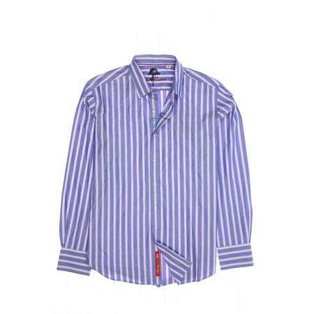 Robert Graham 'Crosswall' Men's Striped Button Down Shirt Sport (Medium, Light Blue) Robert Graham Designer Dress Shirt