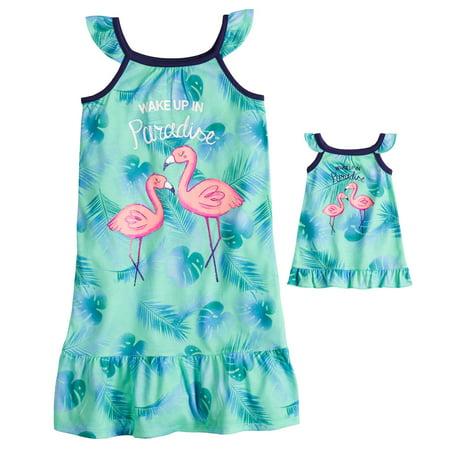 b0ce45baf3 Girls 4-14   Plus Size SO Flutter Sleeve Knee Length Nightgown   Doll  Nightgown - Walmart.com