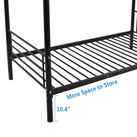 UBesGoo Twin Metal Bunk Beds-Twin Over Twin Bunk Bed Frame-for Kids/Teens/Adults/Children-Bedroom Furniture with Ladder,Black