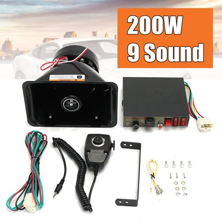 9 Sound Loud Car Warning Alarm Police Siren 12V 200W Horn PA Speaker MIC System 135db Black