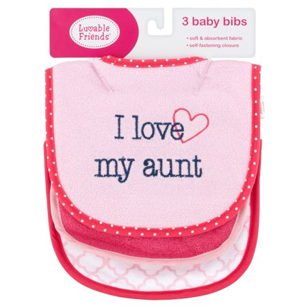Luvable Friends Baby Boy and Girl Drooler Bibs, 3-Pack - Girl Aunt
