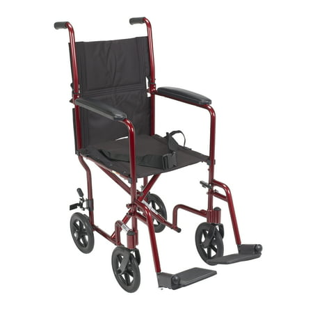 """Drive Medical Lightweight Transport Wheelchair, 17"""" Seat, Red"""