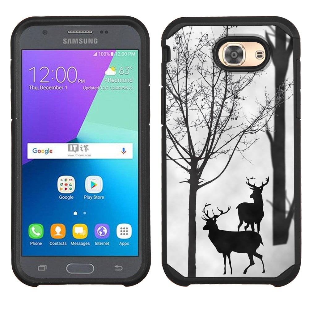 Hybrid Case for Samsung Galaxy J3 Luna Pro 4G LTE / J3 Eclipse, OneToughShield ® Dual Layer Shock Absorbing Phone Case (Black) - Forest Deer