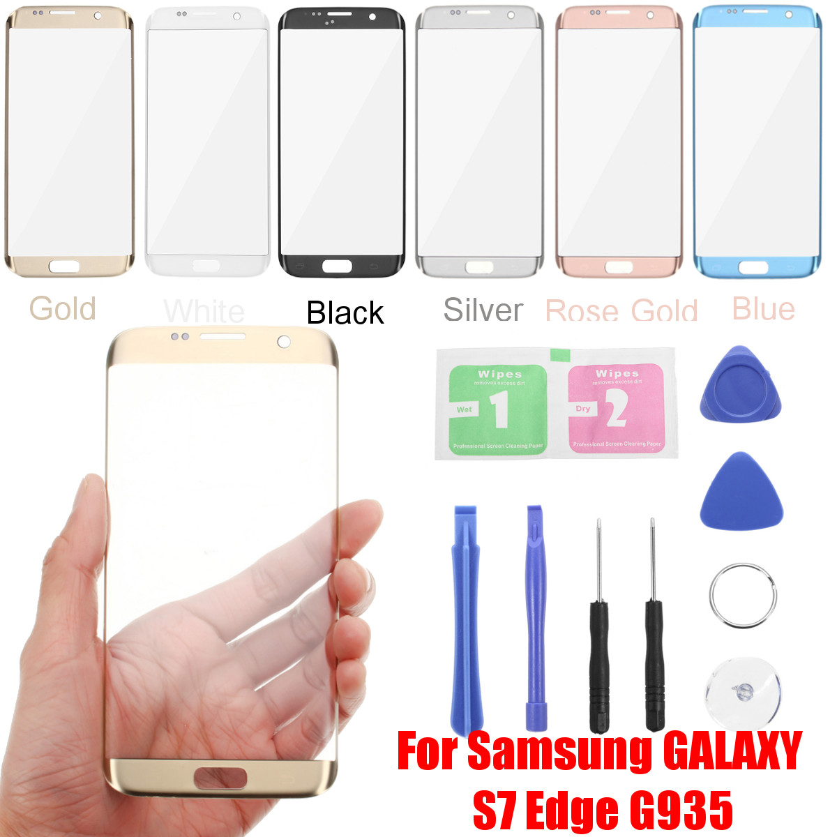 For Samsung Galaxy S7 Edge G935 Front Outer Glass Touch Screen Lens Replace+Tool