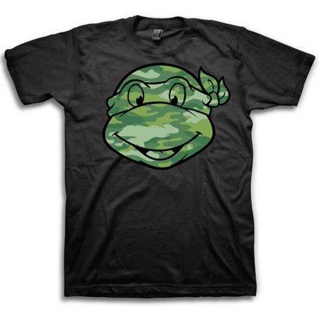 Teenage Mutant Ninja Turtles Camouflage Face Mens Black T-Shirt | 2XL