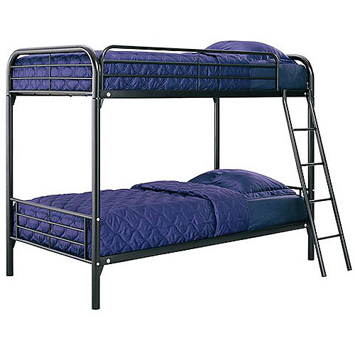 Twin-Over-Twin Metal Bunk Bed with Mattresses