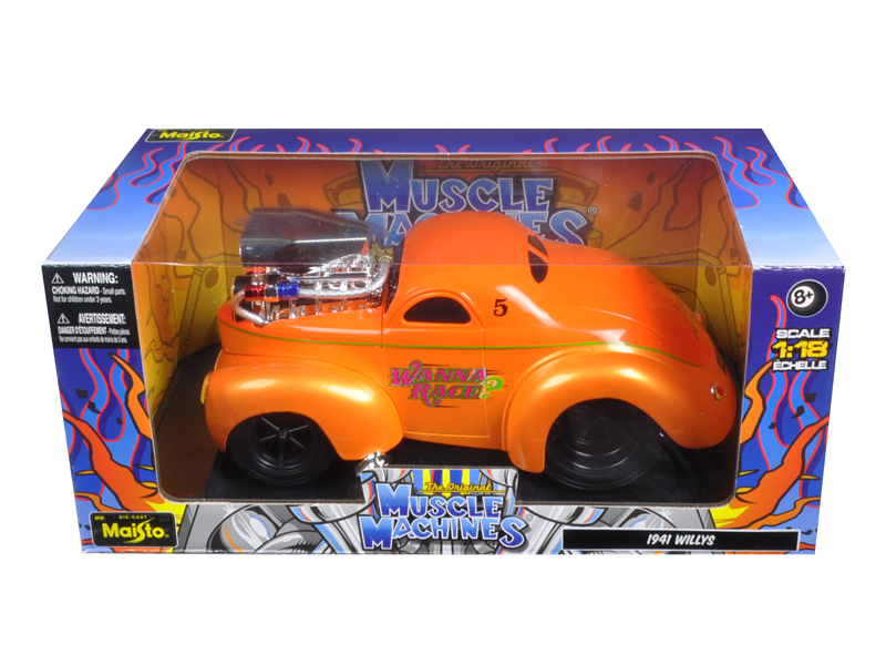 "1941 Willys Coupe Metallic Orange ""Muscle Machines"" 1 18 Diecast Model Car by... by Maisto"