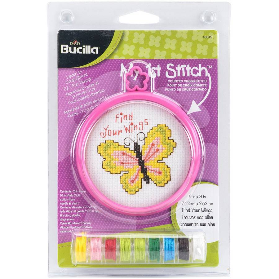 "My 1st Stitch Find Your Wings Mini Counted Cross Stitch Kit, 3"" Round, 14 Count"