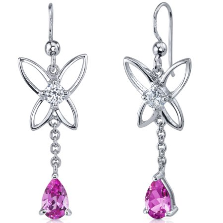 - 2.00 Ct Pear Shape Pink Sapphire Sterling Silver Drop Earrings Rhodium Finish