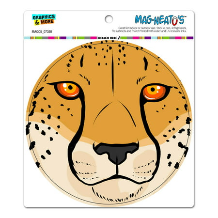 Cheetah Face - Close up Safari Big Cat Circle MAG-NEATO'S(TM) Car/Refrigerator -