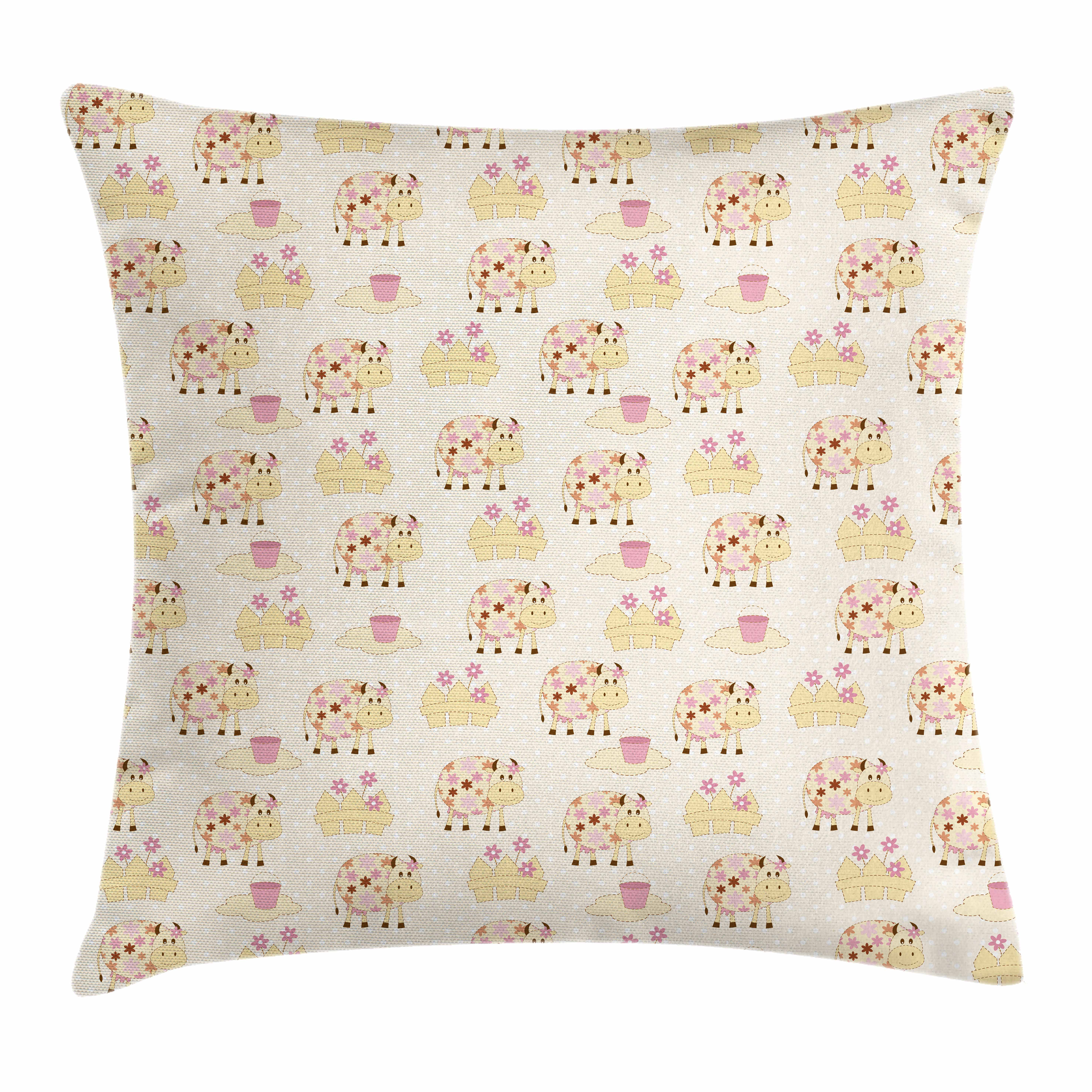 Kids Throw Pillow Cushion Cover, Cows with Flowers on Polka Dots Agriculture Farm Animal Country Life Inspired, Decorative Square Accent Pillow Case, 20 X 20 Inches, Cream Pink Brown, by Ambesonne